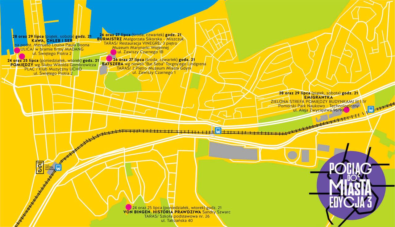 mapa do festiwalu Pociąg do miasta